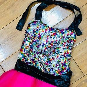 Dance costume Dress glitter child youth pink
